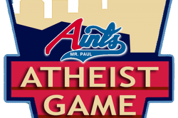 "Logo: billboard against skyline silhouette and Aints logo. Text reads, ""Atheist game 2014."""