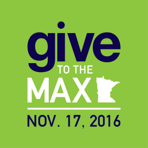 """Graphic saying """"Give to the Max, Nov. 17, 2016"""" on green background."""