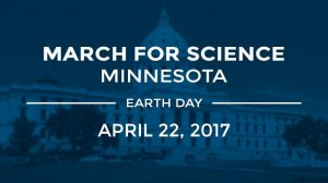 """Graphic with """"March for Science Minnesota, Earth Day, April 22, 2017"""" over a photo of the state capitol building."""