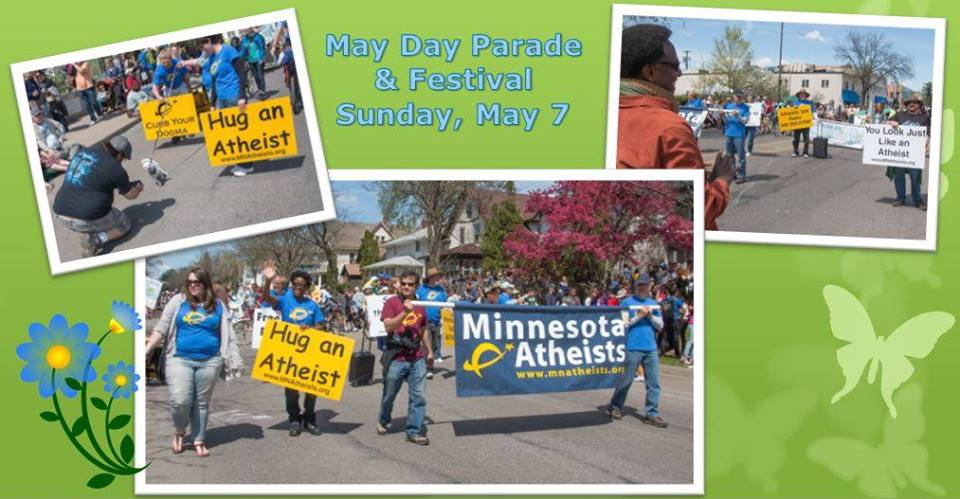 """Collage of photos of marchers with Minnesota Atheists and """"Hug an Atheist"""" signs."""