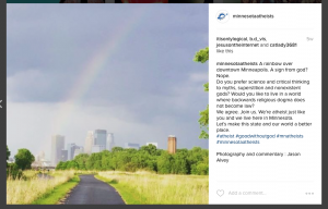 Screen shot of Minnesota Atheists Instagram page showing a photo of a rainbow over downtown Minneapolis with comments.