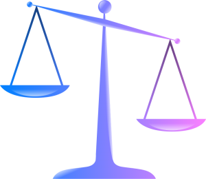 Graphic of tilted balance scales.