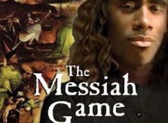 Cover of The Messiah Game. Black man in front of art depicting hellish tortures.