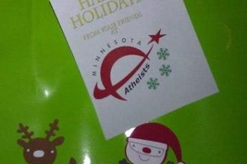 """Photo of gift tag saying """"Happy holidays from your friends at Minnesota Atheists."""""""