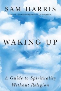 Book cover of Sam Harris's Waking Up: A Guide to Spirituality Without Religion. Text on a blue background with white clouds.