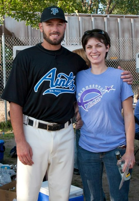 Photo of Heather Hegi with Aints player
