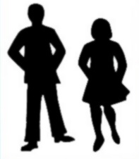 Silhouette of person in pants and person in skirt