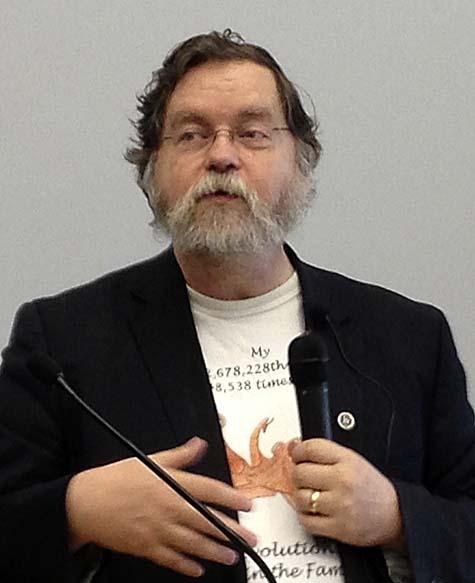 Photo of PZ at podium