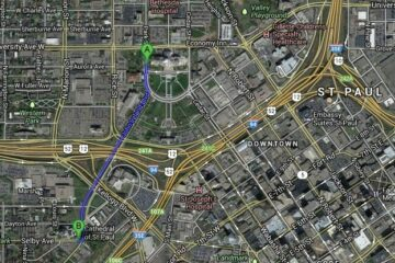 Aerial photo of 94 & 35E commons in downtown St. Paul with route marked from the capitol to the cathedral.