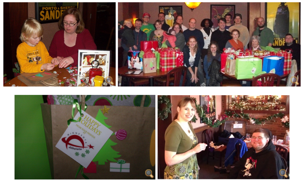 Collage of photos from giftwrapping event.