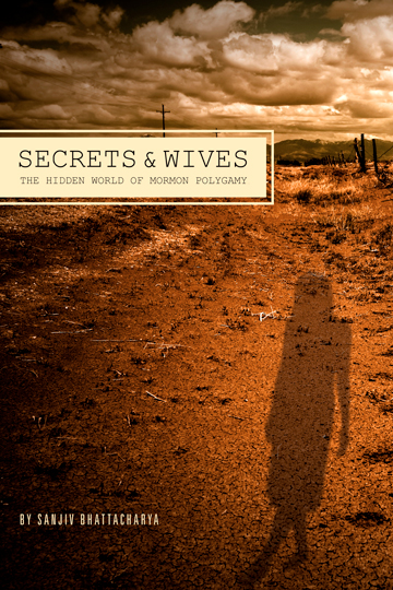 Cover of Secrets and Wives, featuring a shadow of a person in a dress on a desertscape.