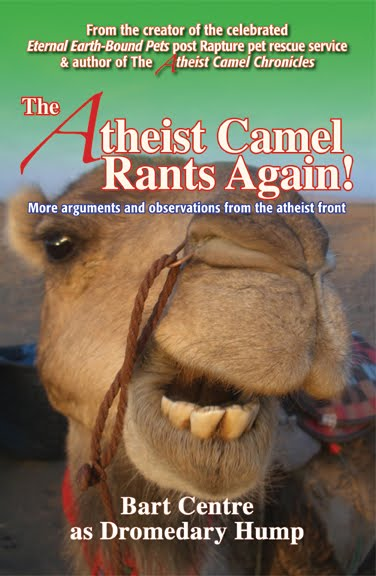 Cover of Atheist Camel Rides Again, featuring a close-up of a camel's face.