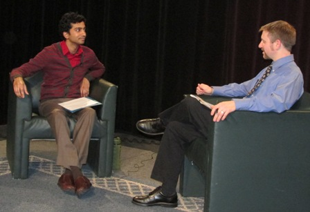 Photo of interview on cable set.