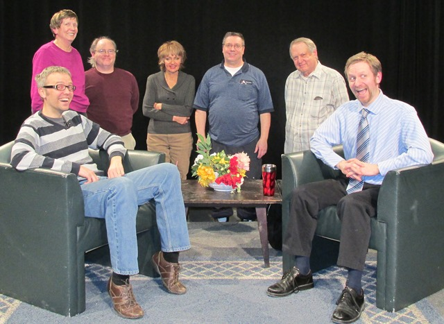 Photo of guest and crew on the set of the cable show.