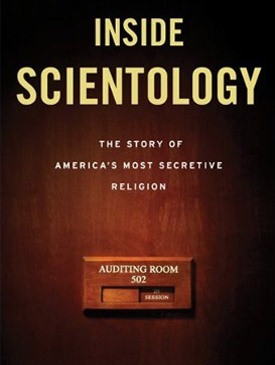 Cover of Inside Scientology, featuring photo of a Scientology auditing room sign.