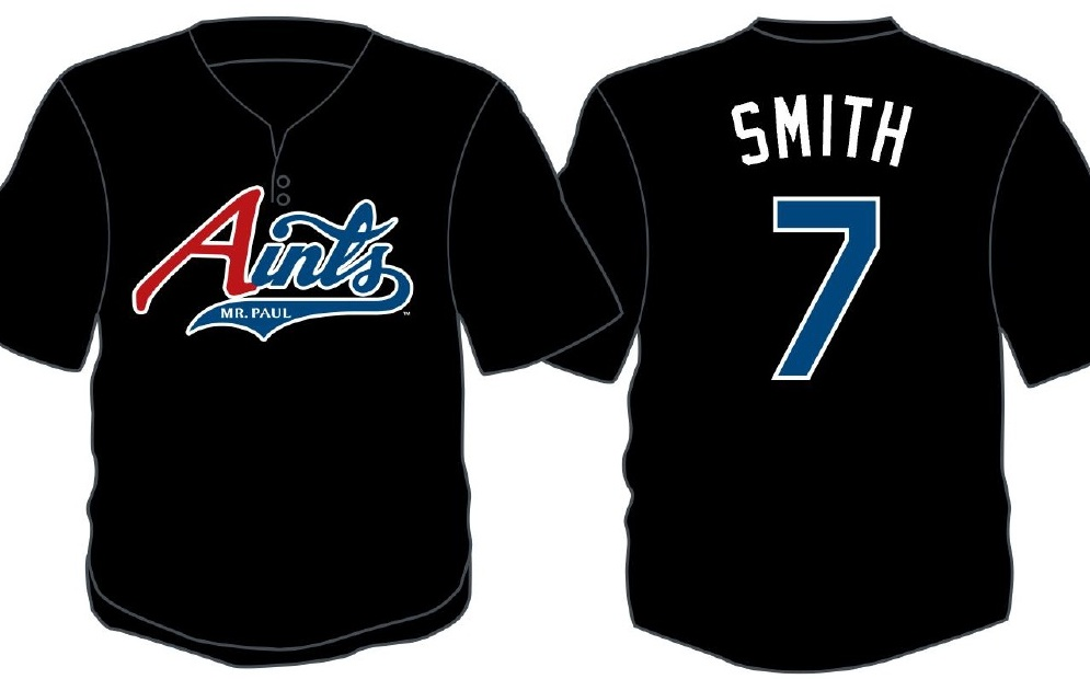 Mockup of front and back of Aints jersey. Logo on the front. Back has name (Smith) and the number 7.