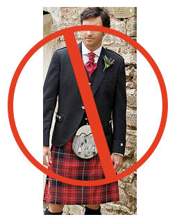 "Photo of man in kilt with red ""no"" symbol superimposed."