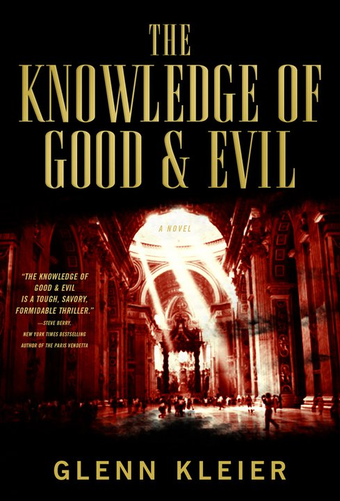 Cover of The Knowledge of Good and Evil, featuring light streaming into the dark interior of a church from a high window.