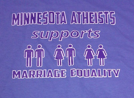 """T-shirt design with couples of various mixes of gender icons and text """"Minnesota Atheists support marriage equality."""""""