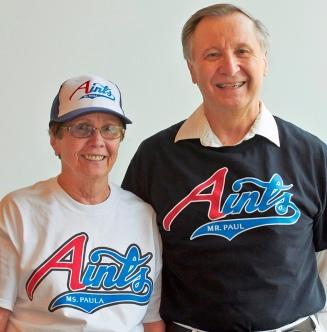 Photo of members in Aints logo wear.