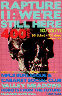 Poster for party featuring a skull and bright colors.