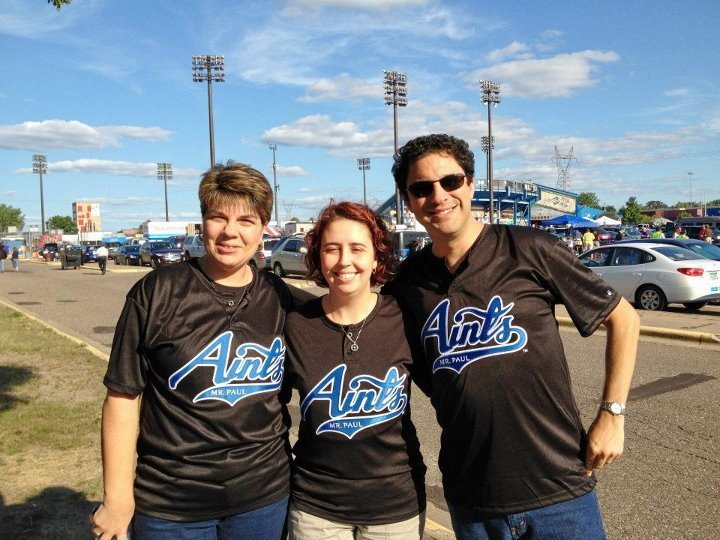 Photo of American Atheists staff in Aints jerseys.