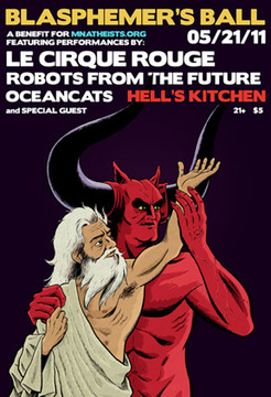 Poster for event, featuring God and a red devil dancing.