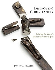 Cover of Disproving Christianity featuring a broken plaster crucifix.