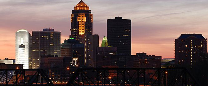 Photo of Des Moines skyline at sunset.