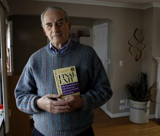 Photo of Dincin holding his Final Exit book.
