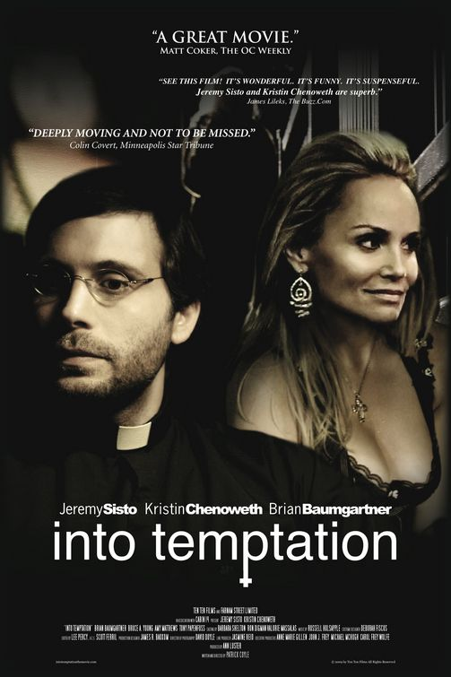 Movie poster for Into Temptation, featuring a priest and a woman.