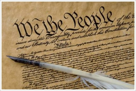 Photo of the Preamble to the U.S. Constitution.