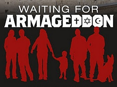 Promotional graphic for Waiting for Armageddon, featuring red silhouettes on a dark background.