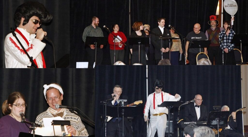 Collage of photos of entertainment from prior celebrations, including an Elvis impersonator.