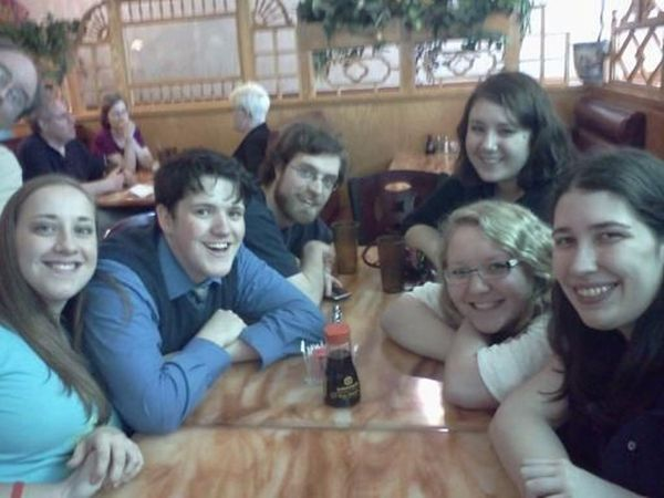 Photo from dinner after Jey McCreight's presentation.
