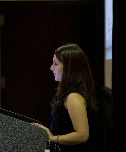 Photo of Jessica Ahlquist. speaking.