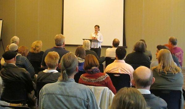 Photo of Marya Hornbacher presenting.