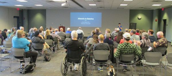 Photo of title slide for Atheists in America presentation.