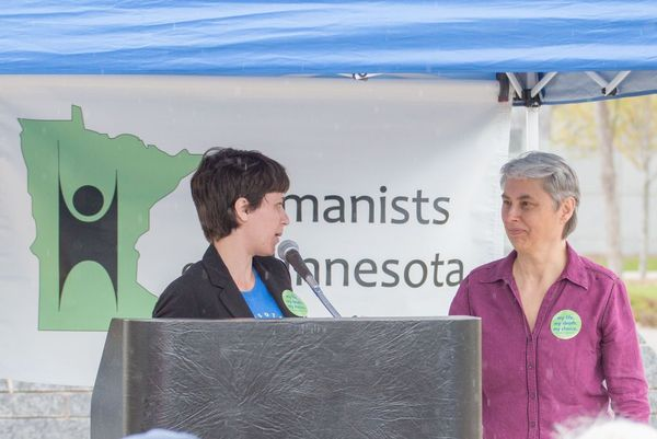 Heather Hegi and Audrey Kingstrom speak at Day of Reason in 2015.
