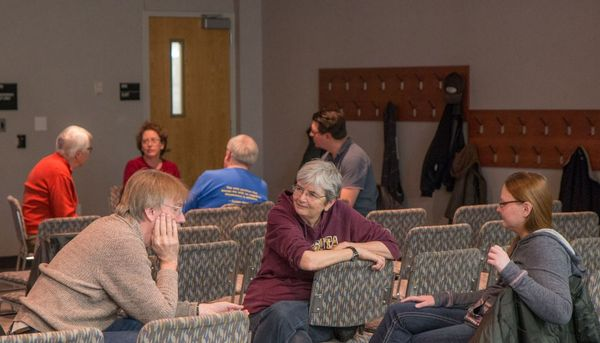 Photo of small group discussions in audience.