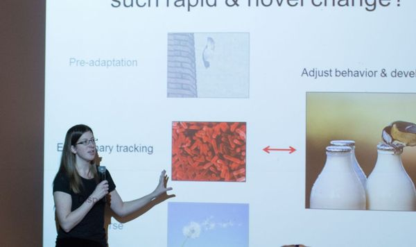 Photo of Emilie Snell-Rood presenting.