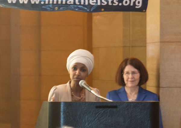 Ilhan Omar speaks at Day of Reason in 2018.