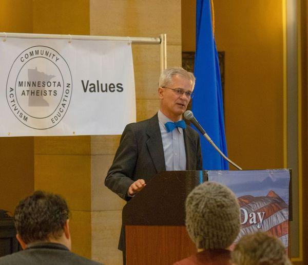 Senator John Marty speaks at Day of Reason in 2019.