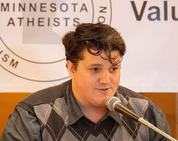 Ben Blanchard speaks at Day of Reason in 2019.