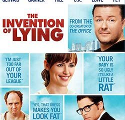 Cover of The Invention of Lying, featuring photos of the stars and impolite true statements.
