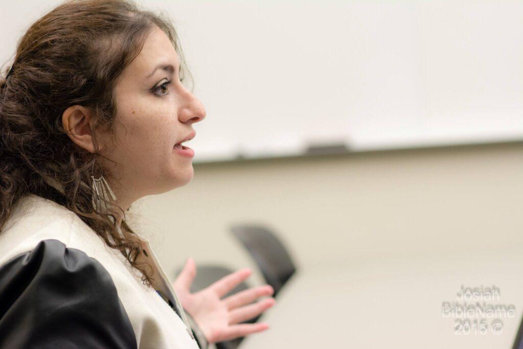 Photo of Hiba Krisht speaking.
