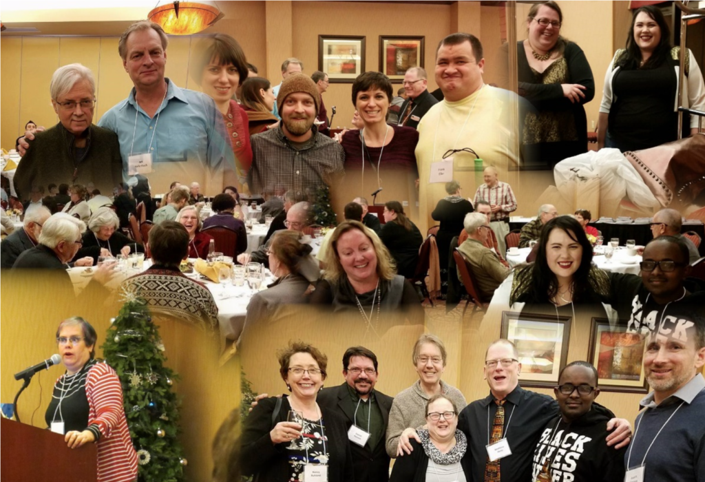 Photo collage of Greta Christina speaking and attendees at Solstice dinner.